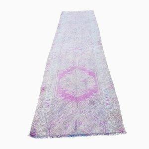 Mid-Century Modern Turkish Handwoven Neutral Muted Pink Oushak Hall Rug