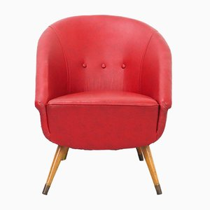 Vintage Club Chair in Red Skai, 1950s