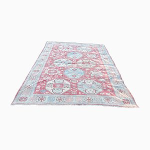 Vintage Distressed Oushak Rug with Pastel Colors
