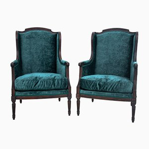 Louis XV Style Bottle Green Armchairs, France, 1890s, Set of 2