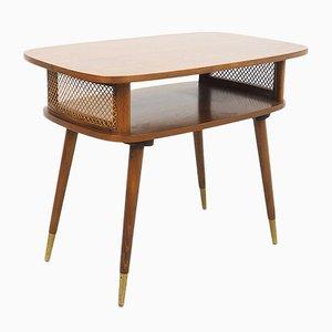 Vintage Side Table in Walnut with Wicker & Copper, 1950s