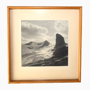 Wooden Frame with Glacier Landscape Picture by Max Welz, Vienna, 1950s