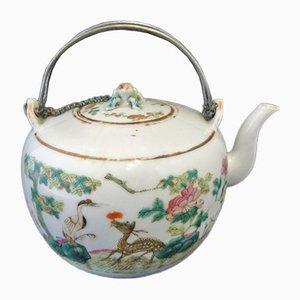 Chinesische Hirsch & Kranich Teekanne aus 19. Jh. Mit signierten Silbermontieren