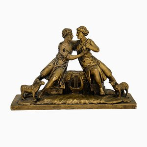 Antique Carved Wood Classical Sculpture