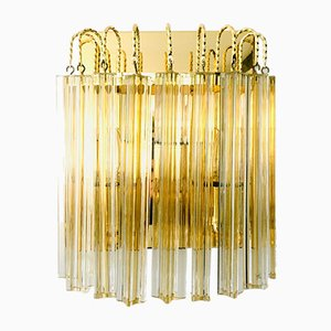 Hollywood Regency Style Glass & Brass Wall Lamp from Massive, Italy, 1980s