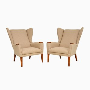 Vintage Wing Back Armchairs, Set of 2