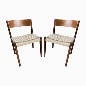 Teak and Paper Cord Pia Chairs by Poul Cadovius for Cado, 1960s, Set of 2