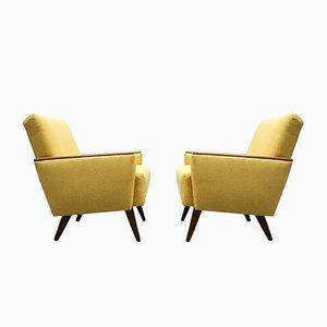 Mid-Century Danish Lounge Club Chairs in Yellow, Set of 2