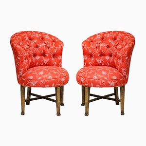 Deep Buttoned Rounded Corner Chairs, Set of 2