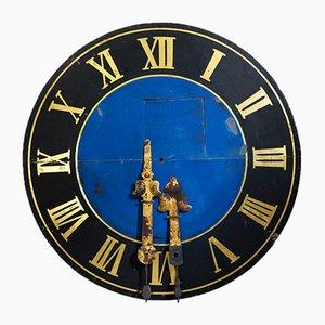 Große antike handbemalte Turmuhr mit vergoldeten Uhrzeigern
