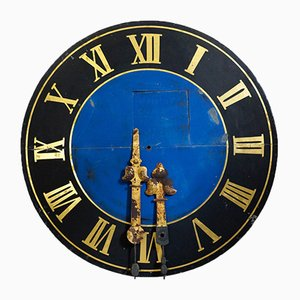 Large Antique Hand-Painted Tower Clock with Gold-Plated Clock Hands