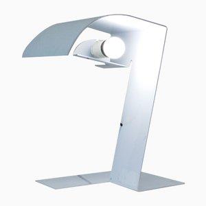 Weiß lackierte Vintage Aluminium Blitz Tischlampe von Trabucchi, Vecchi and Volpi für Stilnovo, 1970er