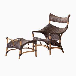 Woven Rattan Armchair & Footstool by Yuzuru Yamakawa, Set of 2