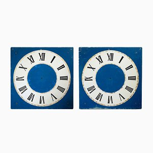 Large Antique Hand-Painted Tower Clocks or Clock Faces, Set of 2