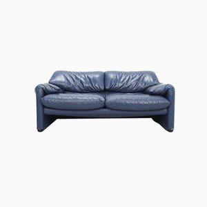 Indigo Blue Leather Maralunga Sofa by Vico Magistretti for Cassina, 1990s