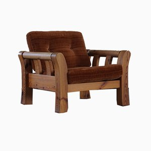 Mid-Century Swedish Lounge Chair in Solid Pine Attributed to Östen Kristiansson, 1970s