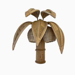 Vintage French Rattan Palm Tree Sconces, Set of 2