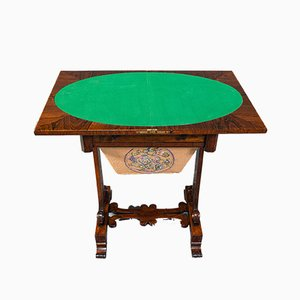 Antique English Regency Rosewood Fold Over Games Table, 1820s