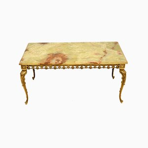 Antique French Onyx & Brass Coffee Table