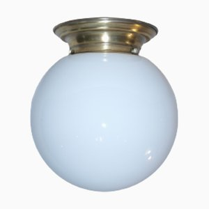 Lampada da soffitto sferica in vetro opalino