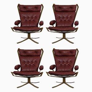 Dänische Super Star Stühle aus Leder & Stahl, 1970er, 4er Set