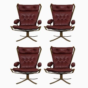 Danish Super Star Leather & Steel Chairs, 1970s, Set of 4