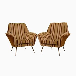 Mid-Century Armchairs in Striped Velvet Attributed to Gigi Radice for Minotti, 1950s, Set of 2