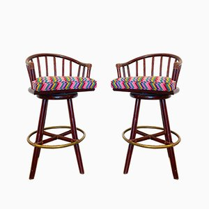 Swivel Bar Stools in Bamboo by Lyda Levi for McGuire, 1960s, Set of 2