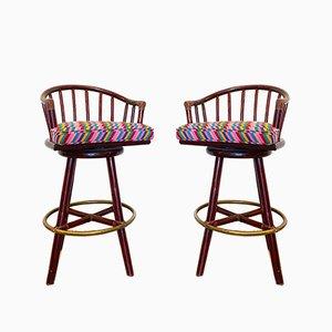 Tabourets de Bar Pivotants en Bambou par Lyda Levi pour McGuire, 1960s, Set de 2