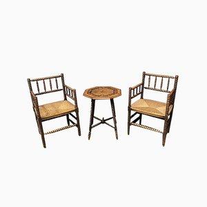 Niederländische Bobbin Stühle mit Binse und Tisch, Frühes 1900er, 3er Set
