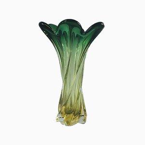 Verdrehte Mid-Century Vase aus Muranoglas