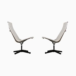 Vintage Vinyl White EE 116 Alu Lounge Chairs by Charles & Ray Eames for Herman Miller, Set of 2
