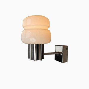 Large Wall Light in Opaline Glass and Steel, Italy, 1970s
