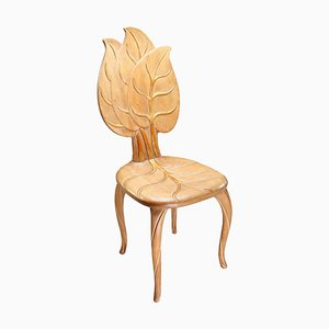 Wooden and Gold Leaf Chair by Bartolozzi & Maioli, Italy, 1970s