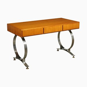 Desk with Walnut Veneer and Chromed Metal, Italy, 1970s