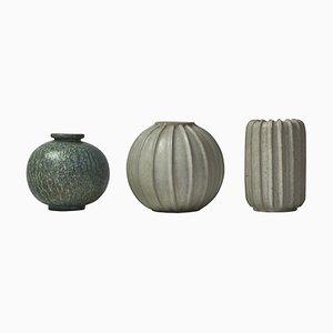 Vases Art Déco en Grès par Arne Bang, 1930s, Set de 3