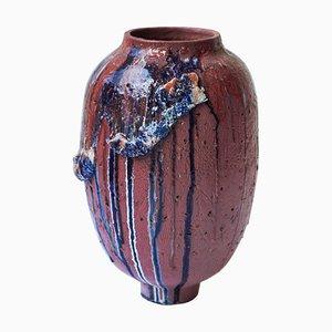 Blaue Pithos Steingut Vase von Arina Antonova