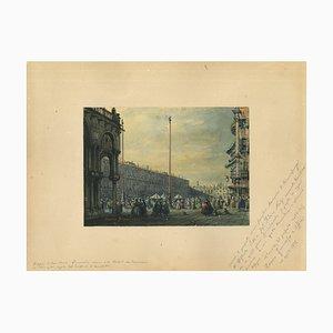Francesco Zanin, Place Saint-Marc, Venise, Chine Encre, Aquarelle et Tempera, 1877