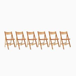 Mid-Century Beech Folding Chairs, 1950s, Set of 10