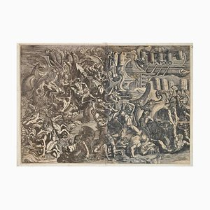 Giovanni Battista Sculptors, Naval Battle Between Greeks and Trojans, Etching, 1538