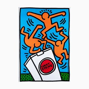 Lithographie Offset, Lucky Strikes, Keith Haring, 1987