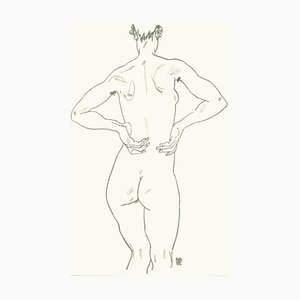 Female Back, Lithograph, Egon Schiele, 1990
