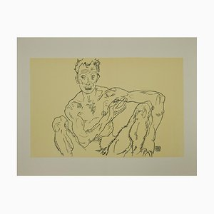Crouching Male Nude, Lithograph, Egon Schiele, 2007