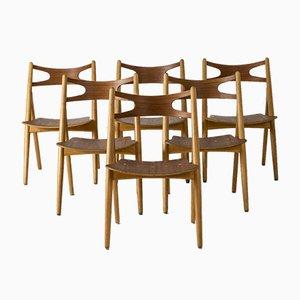 Sawbuck Dining Chairs by Hans J. Wegner, Set of 6