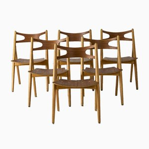 Sawbuck Esszimmerstühle von Hans J. Wegner, 6er Set