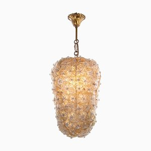 Gold and Ice Murano Glass Flowers Basket Ceiling Light from Barovier & Toso, 1950s