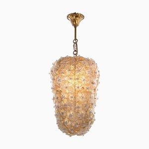 Gold und Eis Murano Glas Blumen Korb Deckenlampe von Barovier & Toso, 1950er