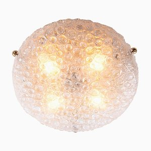 Murano Bubble Glass on Brass Flush Mount from Hillebrand, 1960s