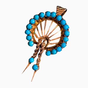 Vintage 14K Gold Brooch or Pendant with Turquoise, 1950s