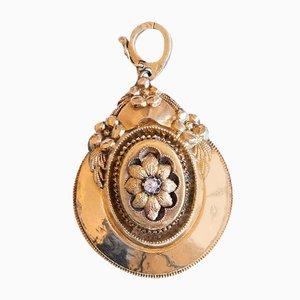 Antike 14K Goldketten Hängelampe mit Altschliff Diamanten, frühes 19. Jh